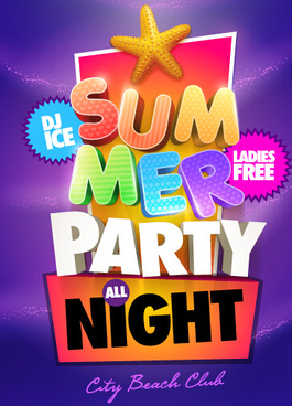creative summer party poster design vecor