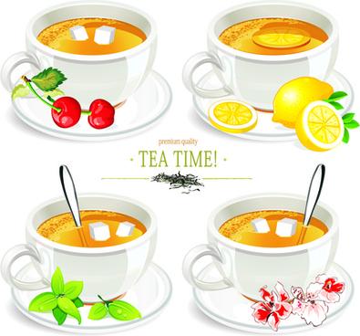 creative tea design elements vector set