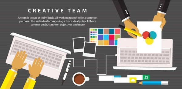 creative team concept with working hands illustration
