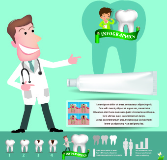 creative teeth care infographics vectors
