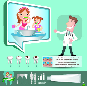 creative teeth care infographics vectors