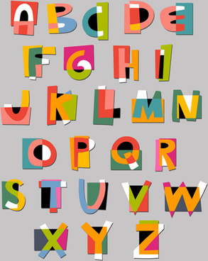 creative tiling alphabet vector set