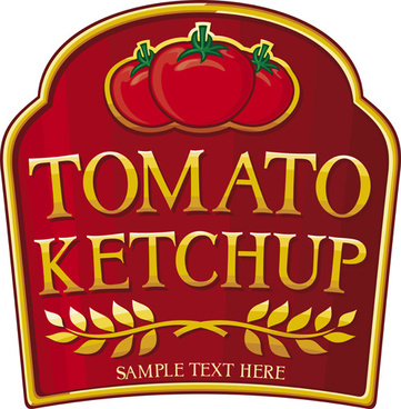 creative tomato ketchup stickers vector
