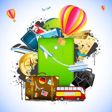 creative travel elements vector art