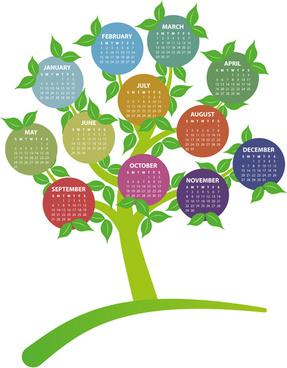 creative tree calendar15 cards vector