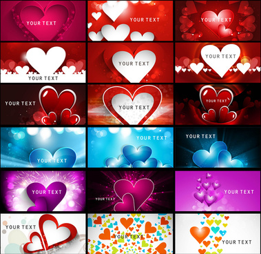 creative valentines day bright colorful heart collection business card set vector illustration