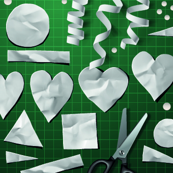 creative valentines day paper cut object vector