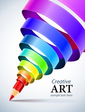 decorative background dynamic twisted colored pencil 3d modern