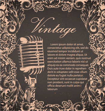 creative vintage music background vector set