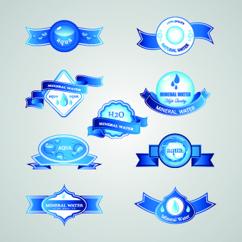 creative water elements labels vector