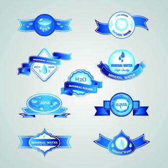 creative water elements labels vector
