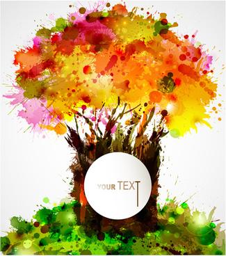 creative watercolor tree vector