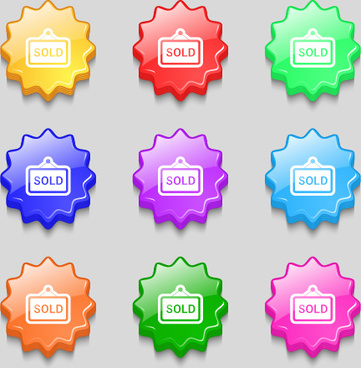 creative wavy colourful buttons vector set