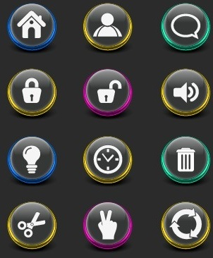 creative web icon buttons design vector