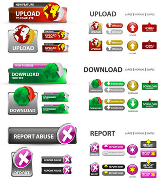 creative website download buttons vectors set