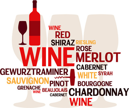creative wine and text background vector