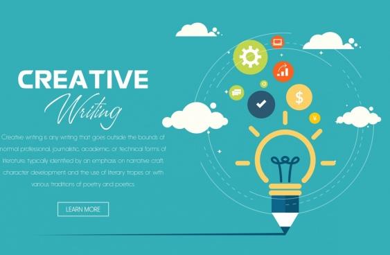creative writing banner lightbulb pencil icons webpage design