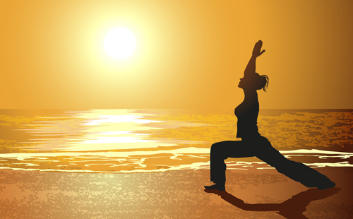 creative yoga and sunset vector