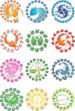 creative zodiac icon vector
