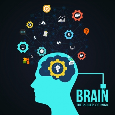 creativeness concept head bulb brain icons dots connection