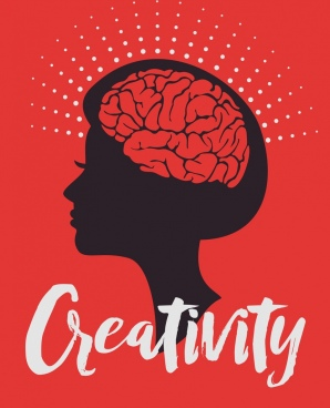 creativity concept banner woman head silhouette brain icon