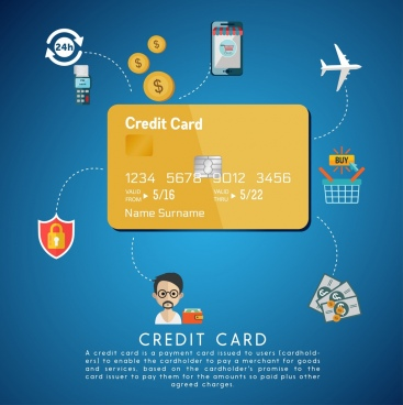 credit card advertisement benefit design elements decoration