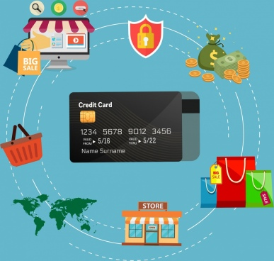 credit card benefit infographic shopping online design elements