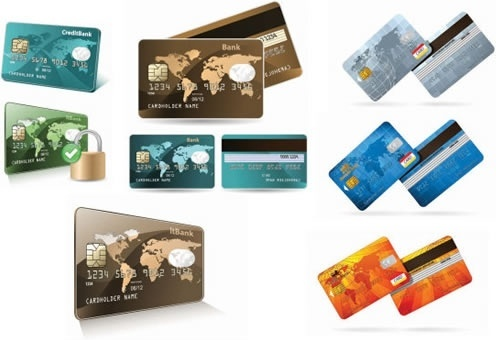 bank card templates global map decor modern design
