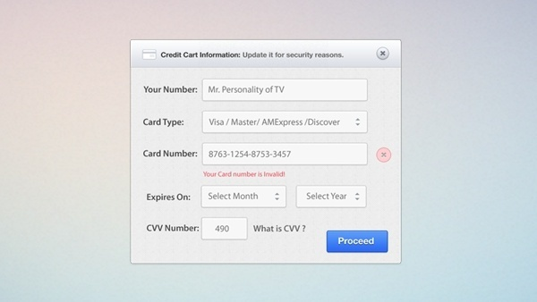 Credit Card Form PSD and CSS