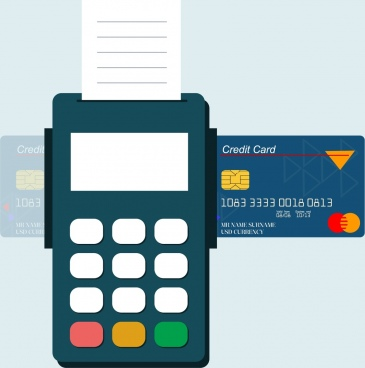 credit card promotion banner machine icon flat design