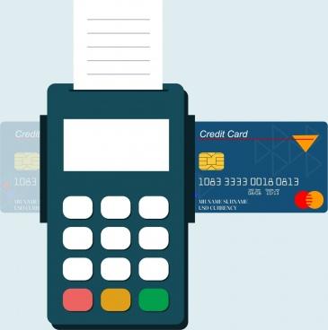 credit card promotion banner machine icon flat design