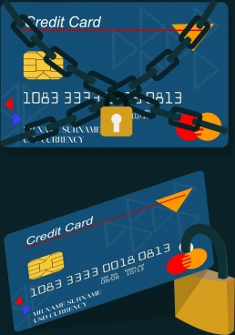 credit card security concept locked chain icons