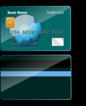 credit card template dark green design globe decoration