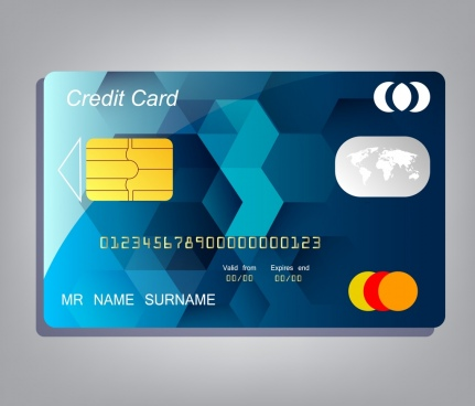 credit card template realistic design low poly background