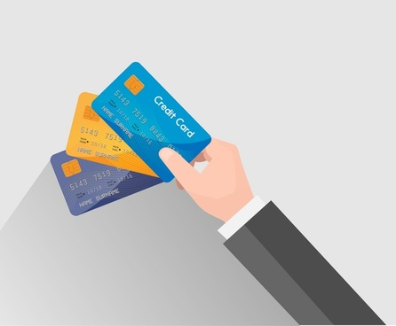 credit card vector illustration with holding hand