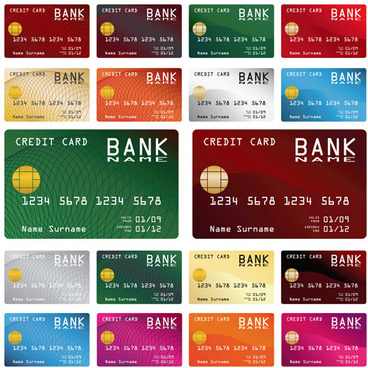 credit card vector template set