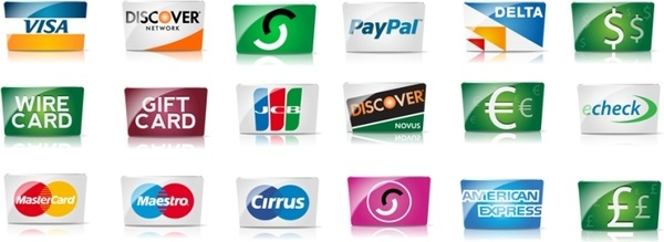 Credit cards and payment icon set icons pack