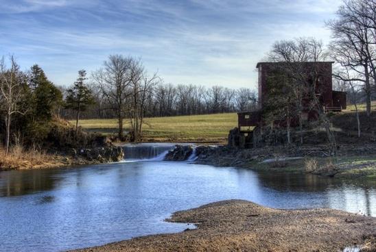 creek around the mill and landscape at dillard039s mill missouri