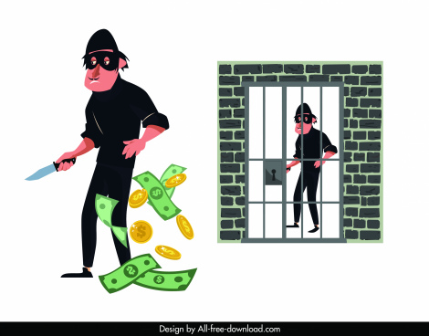 criminal icons cartoon character money prison sketch