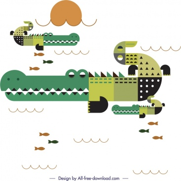 crocodile animals painting colored classical flat design