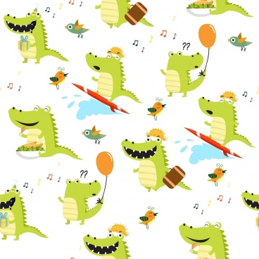 crocodile birds background funny icons repeating decoration