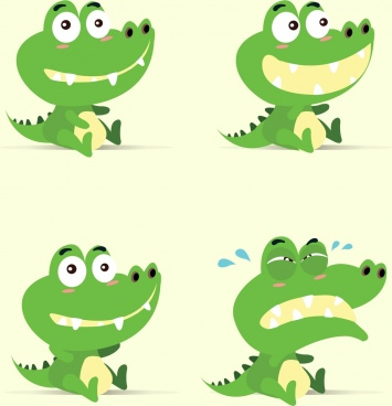 crocodile emotional icons collection cute stylized green isolation