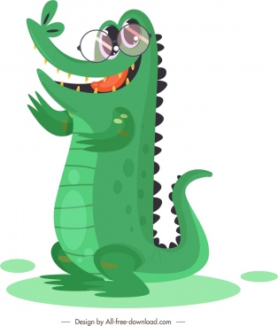 crocodile icon funny stylized cartoon character sketch