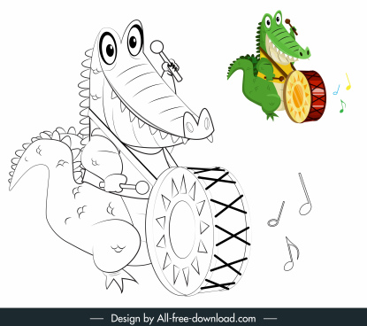 crocodile icon playing drum sketch handdrawn cartoon