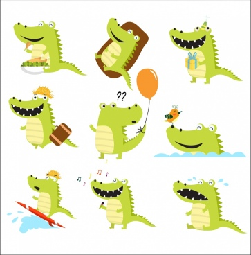 crocodile icons isolation green design various funny styles