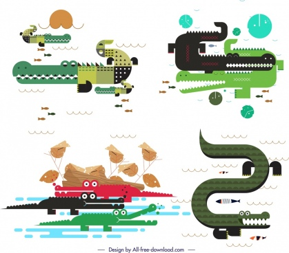 crocodile icons sets colorful classical flat sketch