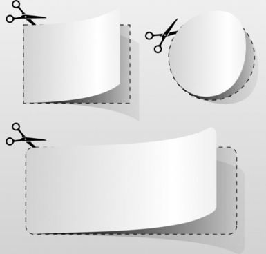 paper cut icons shiny blank 3d sketch
