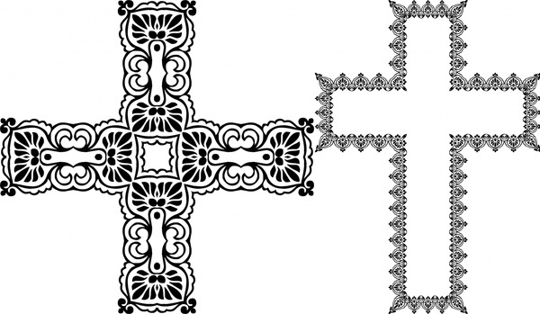 cross sets vector illustration with classical decoration