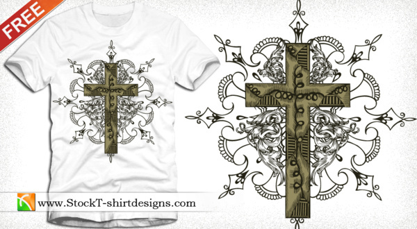 cross tshirt design with floral ornament