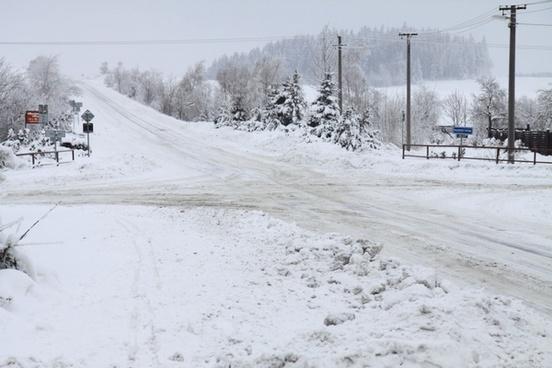 crossroads in winter